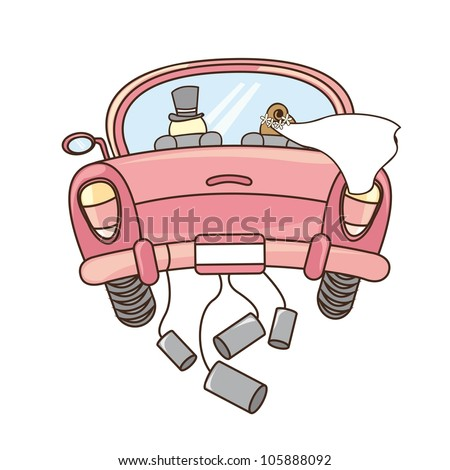 just married car isolated over white background. vector illustration - stock vector