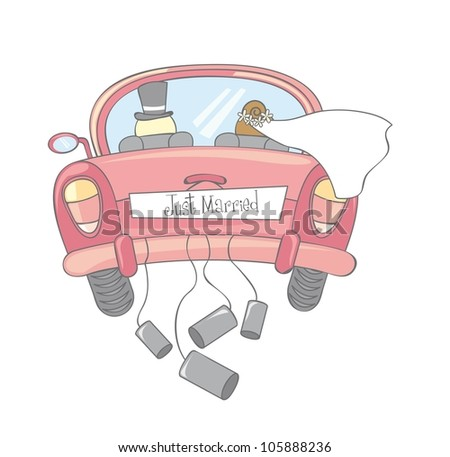 just married car isolated, vintage. vector illustration