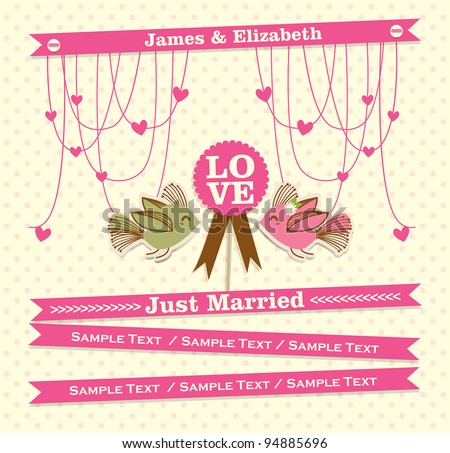 Just married card 2 - stock vector