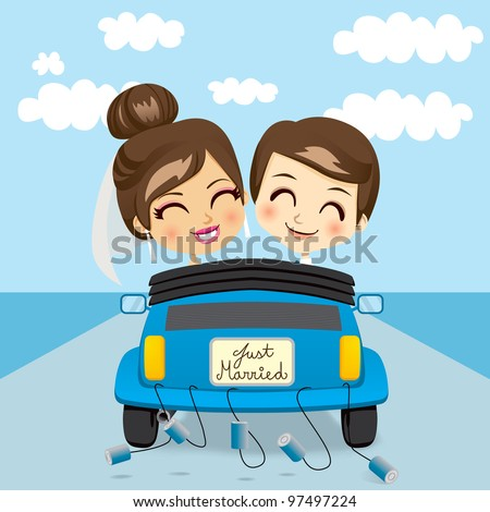 Just married couple driving a blue car in honeymoon trip - stock vector