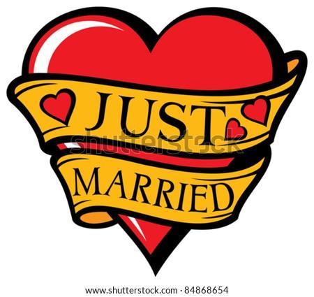 Just married design (heart) - stock vector