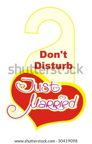 Just married do not disturb sign - stock vector