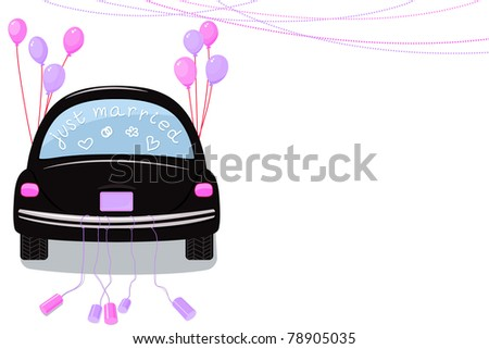 Just Married. Rear view car with cans tied to the tail bumper and balloons. Lesbian marriage concept. Wedding invitation. - stock vector