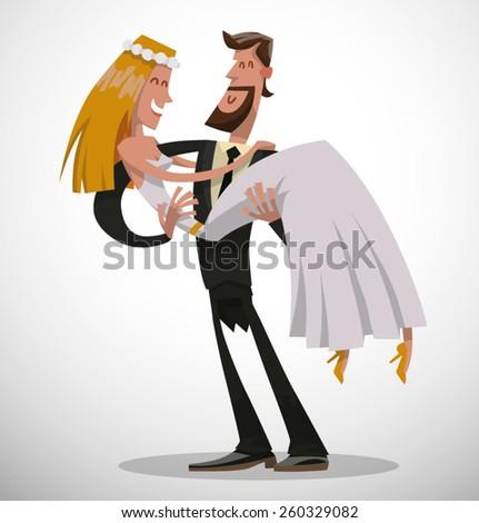 just married, vector - stock vector