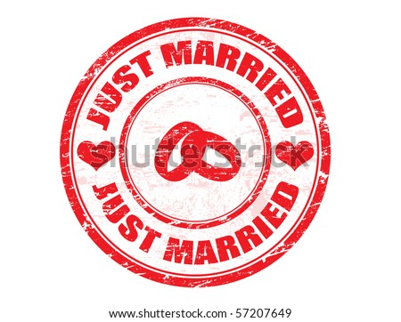 JUST MARRIED.Wedding grungy rubber stamp with two rings and heats - stock vector