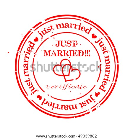 JUST MARRIED.Wedding grungy stamp isolated over white. - stock vector