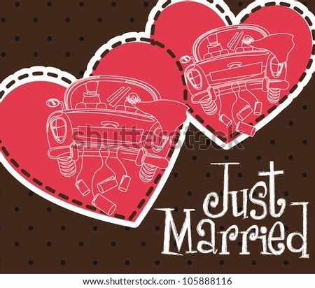 just married with cars and heart card. vector illustration - stock vector