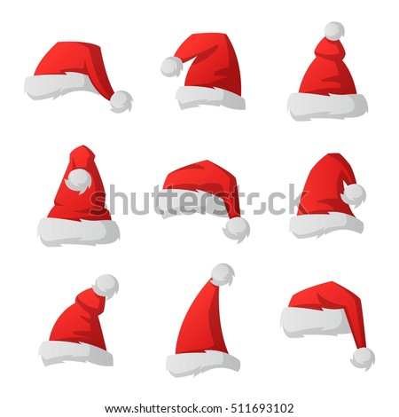 Just red christmas santa hat at white background vector isolated. Xmass holidays mascarade costume isolated hat collection set