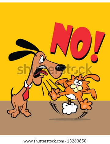Just say no - vector of dog wearing collar and tie saying no to a startled orange cat - stock vector