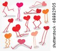 Just Some Funny Hand Drawn Hearts Colorful - stock vector