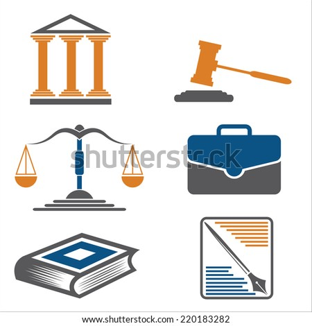 Justice and law. Vector icons. - stock vector