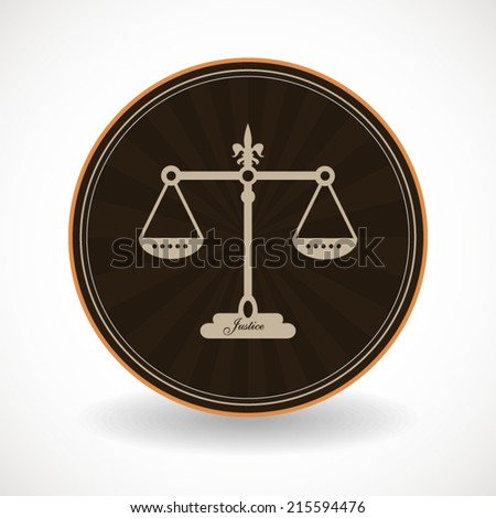 Justice balance scales icon brown, beige and orange design isolated on gradient background isolated on white - stock vector