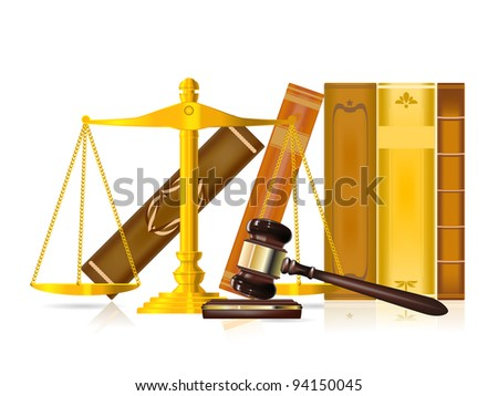 justice gavel, golden scale and books - stock vector
