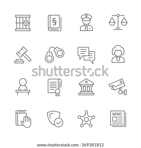Justice icons. - stock vector