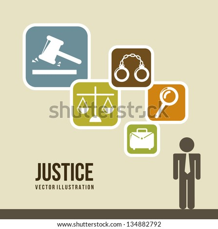 justice icons over  beige background. vector illustration - stock vector