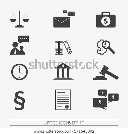 Justice icons, vector. - stock vector