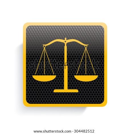 Justice scale icon design,yellow version,clean vector - stock vector