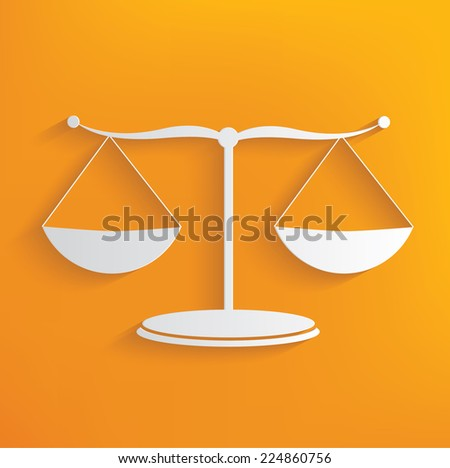 Justice scale symbol on yellow background,clean vector - stock vector
