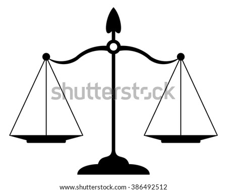justice scales black and white