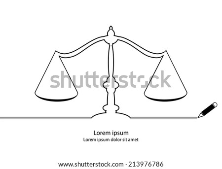 Justice symbol contour. Black outline vector. - stock vector
