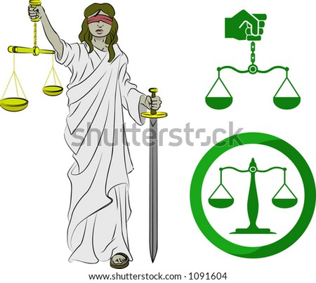 Justice symbols. Lady justice, and two sets of scales. - stock vector