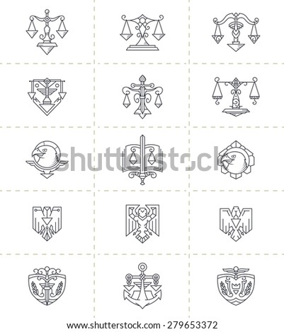 Justice Symbols Set. Symbols like: libra (scale), eagle, sword, book, anchor.