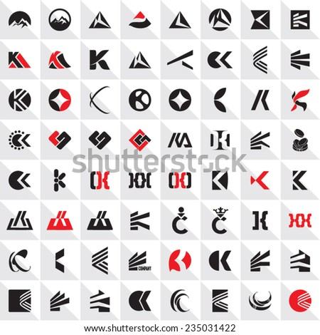K and C letter vector sign collection. Abstract vectors set. - stock vector