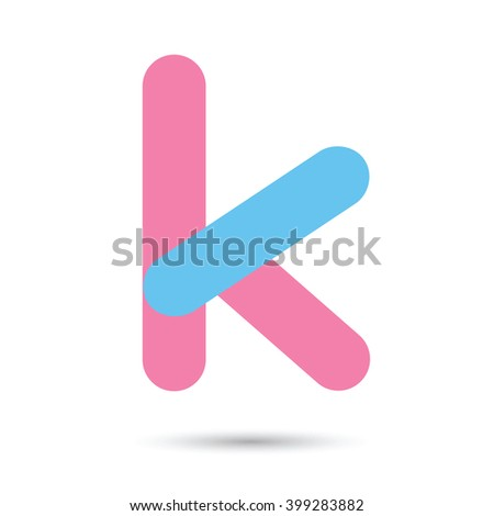 k font vector with blue and pink color on White background, Futuristic font, Cosmic, Vector alphabet set, Elegant light font , typeface, typography, typewriter. - stock vector