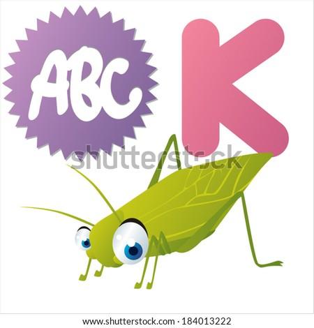 K is for Katydid - stock vector