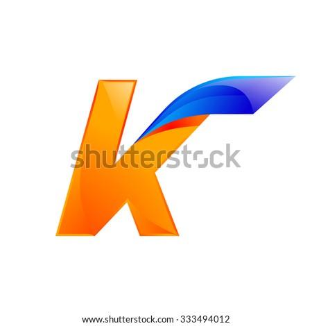 K letter blue and Orange logo design Fast speed design template elements for application. - stock vector