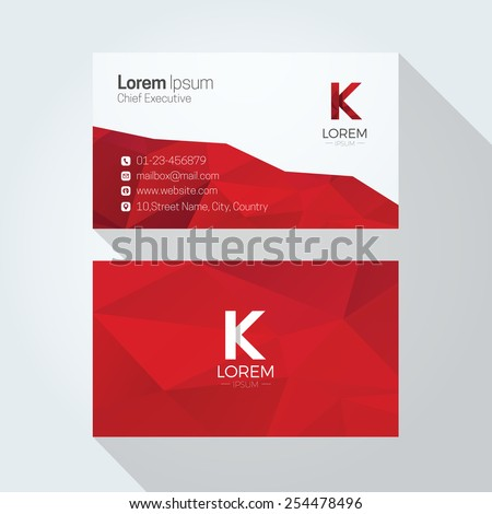 K Letter Logo Abstract Polygonal Background Business card template - stock vector