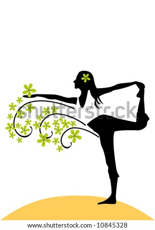 K?ng dancer pose silhouette with green flowers. - stock vector
