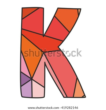 K wrapping surface pastel vector alphabet letter isolated on white background