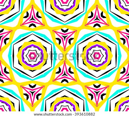 Kaleidoscope Flower Pattern. Vibrant mandala geometric background. Fashionable graphic print. Fractal star flowers. Neon colors, psychedelic design. Colorful geometric ornament. Vector background. - stock vector