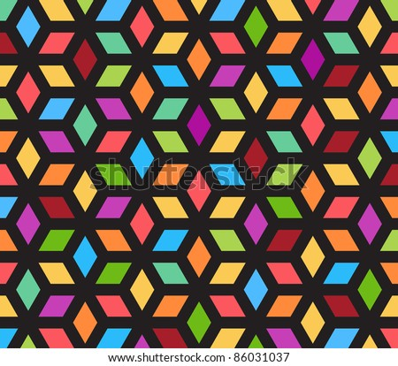 kaleidoscope optical illusion - you can see cubes or see flower petals - stock vector