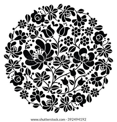 Kalocsai folk art embroidery - black Hungarian round floral folk pattern - stock vector