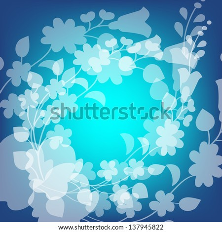 Kalocsai pattern on blue - stock vector