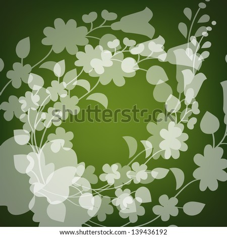 Kalocsai pattern on green - stock vector