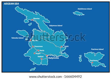 Kalymnos Island Greece Map This Detailed Stock Vector 166604492