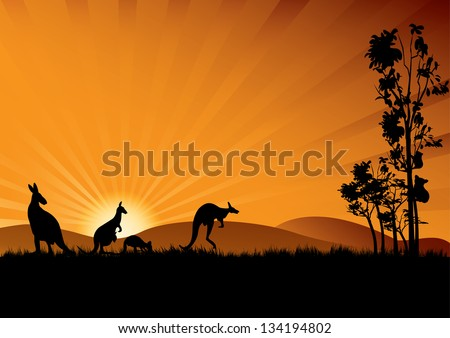 Kangaroo and two koala in a gum tree - stock vector