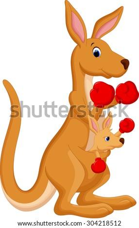 Kangaroo boxing - stock vector