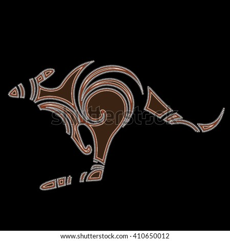 Kangaroo creative aboriginal design, isolated on black background - stock vector