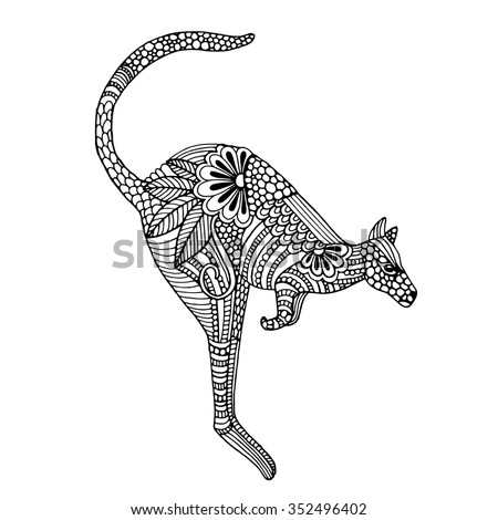 Kangaroo. Hand drawn vector illustration - stock vector