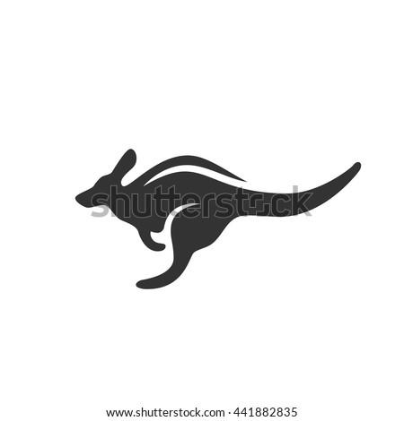 Kangaroo Icon Isolated On A White Background Australian Animals Logo Silhouette Design Template Simple