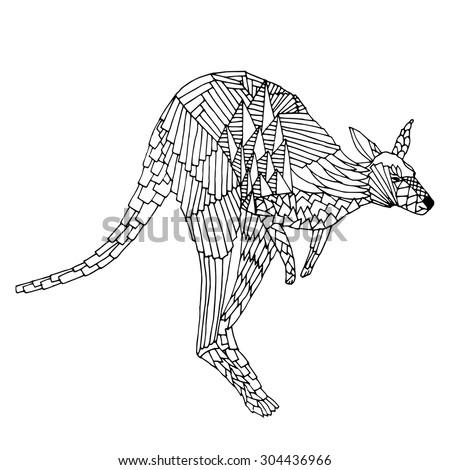 Kangaroo jump. Hand drawn vector illustration. Good for T-shirt, bag or whatever print. Vector illustration - stock vector