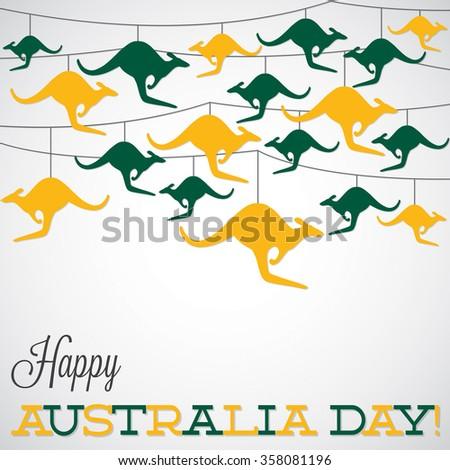 Kangaroo ornament Australia day Card in vector format. - stock vector
