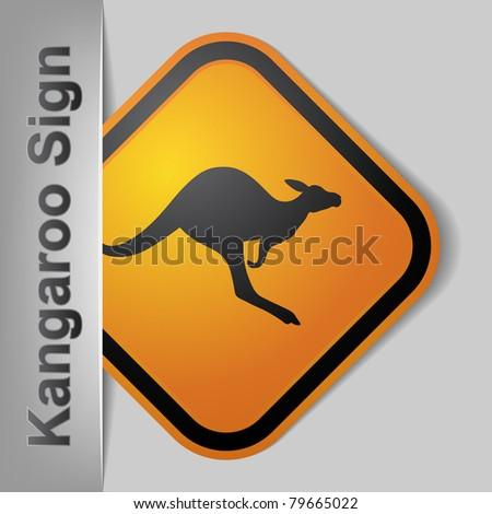 kangaroo road sign - stock vector