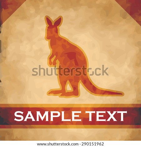 Kangaroo silhouette on parchment with dark brown and gold ribbon - stock vector
