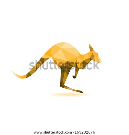 Kangaroo silhouette - vector illustration,abstract geometry - stock vector