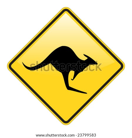 Kangaroo warning sign with glossy effect - stock vector